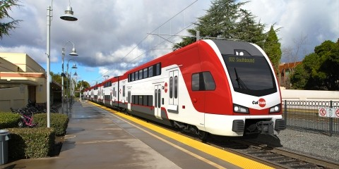 A Caltrain vehicle headed to San Francisco