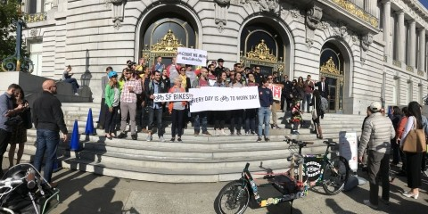 An image from 2018 bike to work day at City Hall