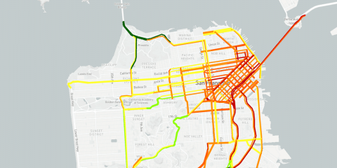 A screenshot of a map showing congestion in downtown San Francisco