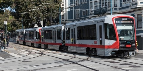 A new Muni light rail vehicle on Duboce Street