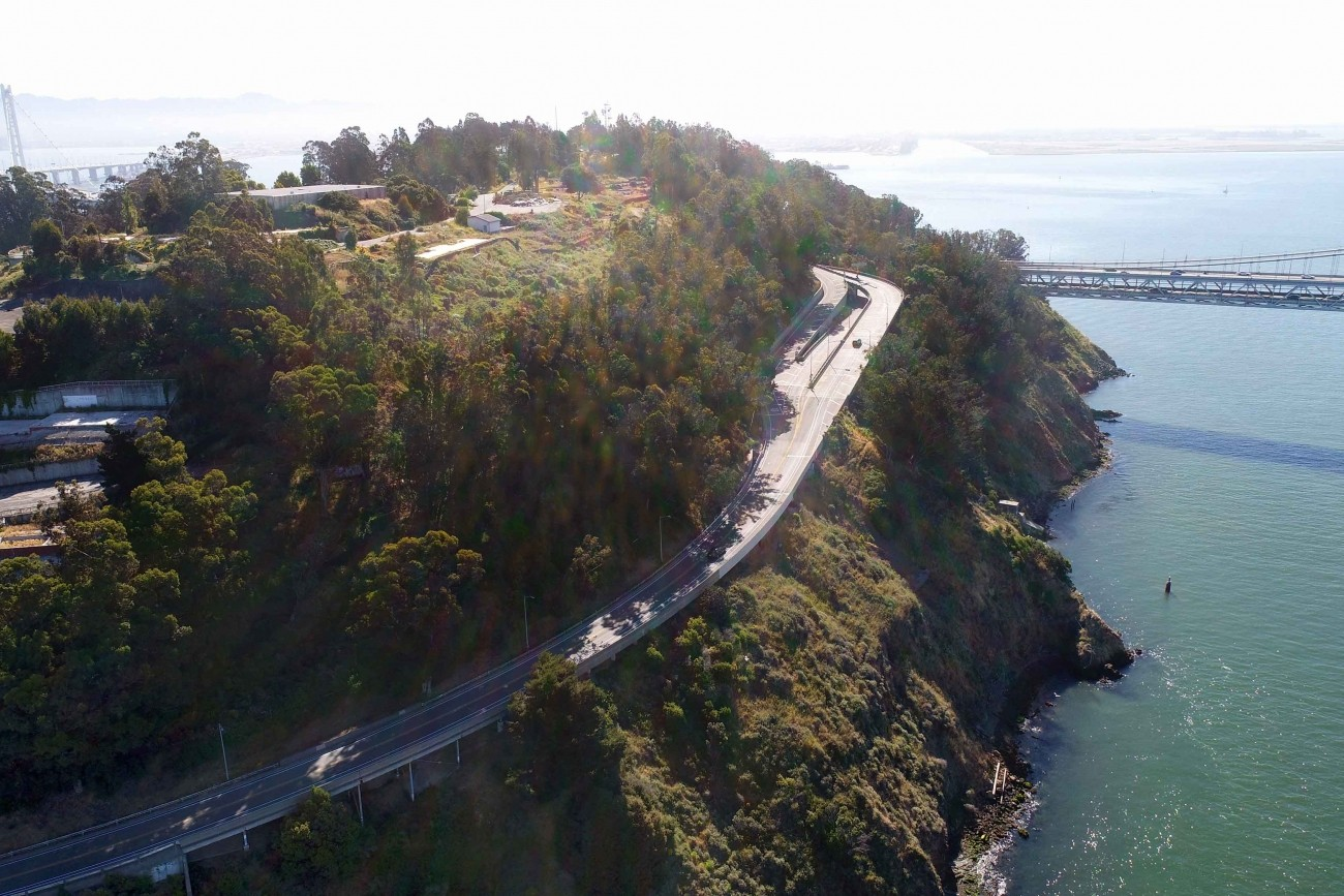 An aerial image of the bridges on Yerba Buena Island