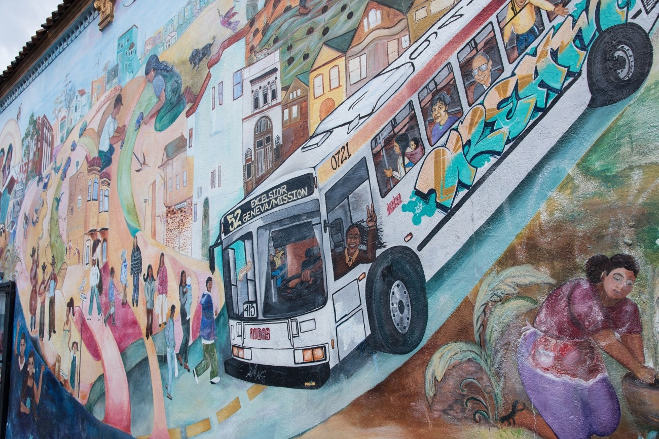 A mural with a Muni bus in the Excelsior