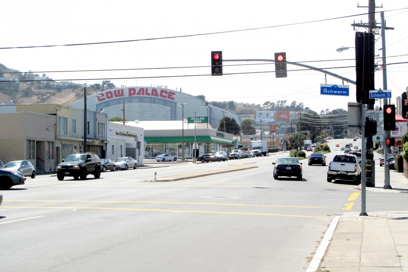 A view of Cow Palace from the Geneva Ave/Schwerin intersection