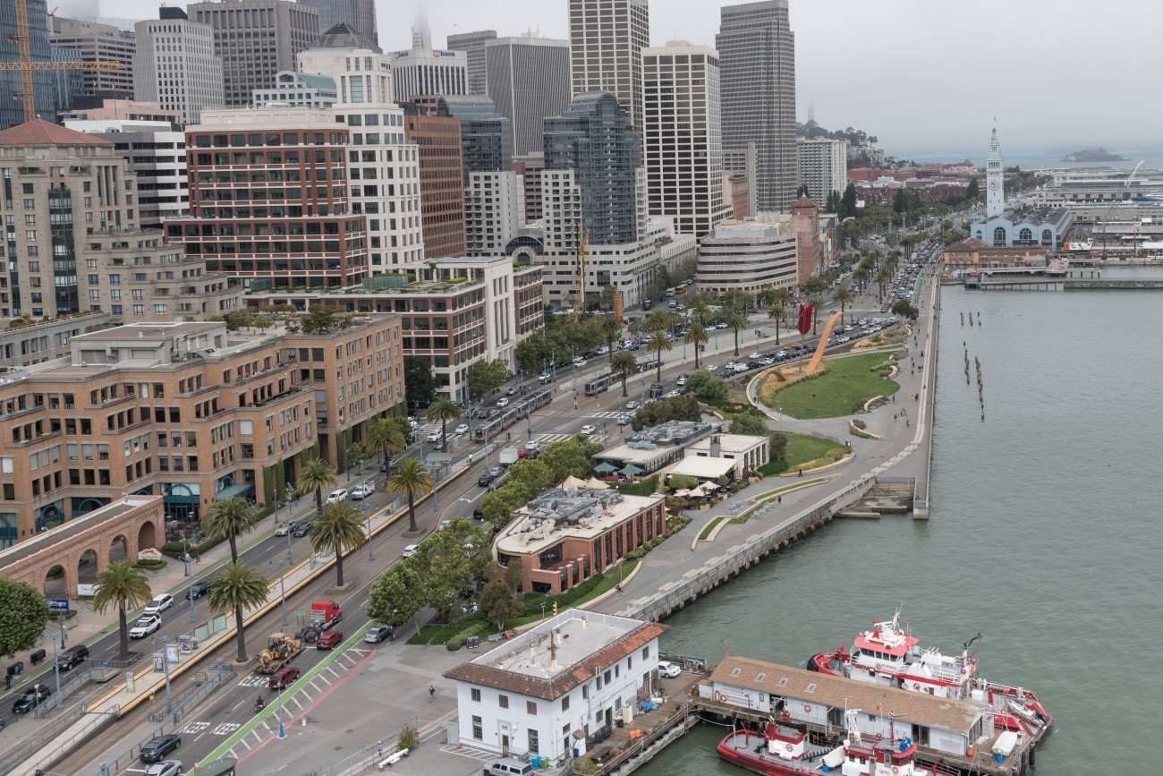 An aerial view of the SF waterfront including the Ferry building