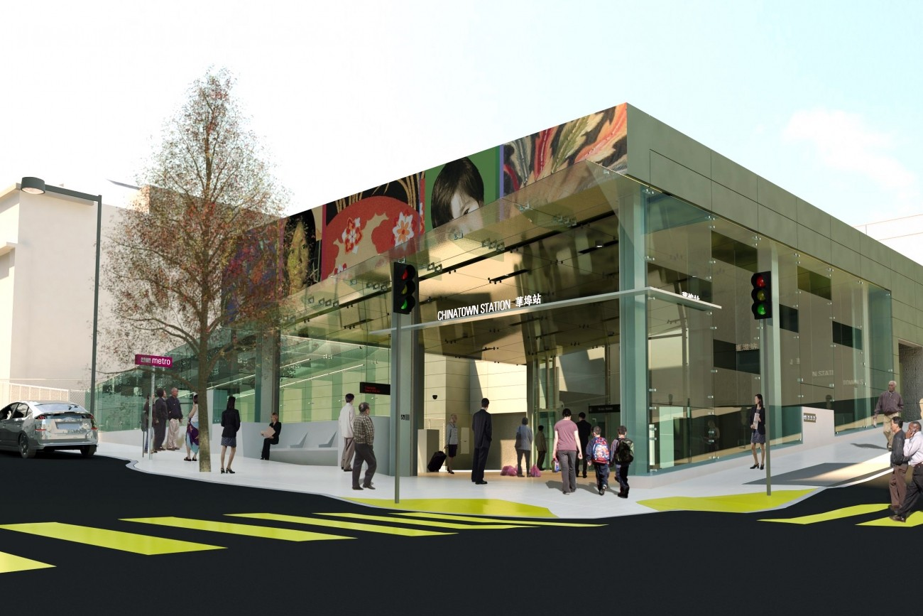 A rendering of Chinatown station