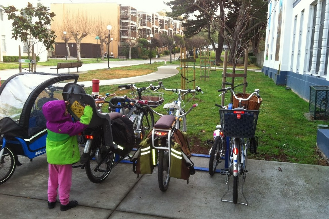 Bike racks at Rosa Parks Elementary
