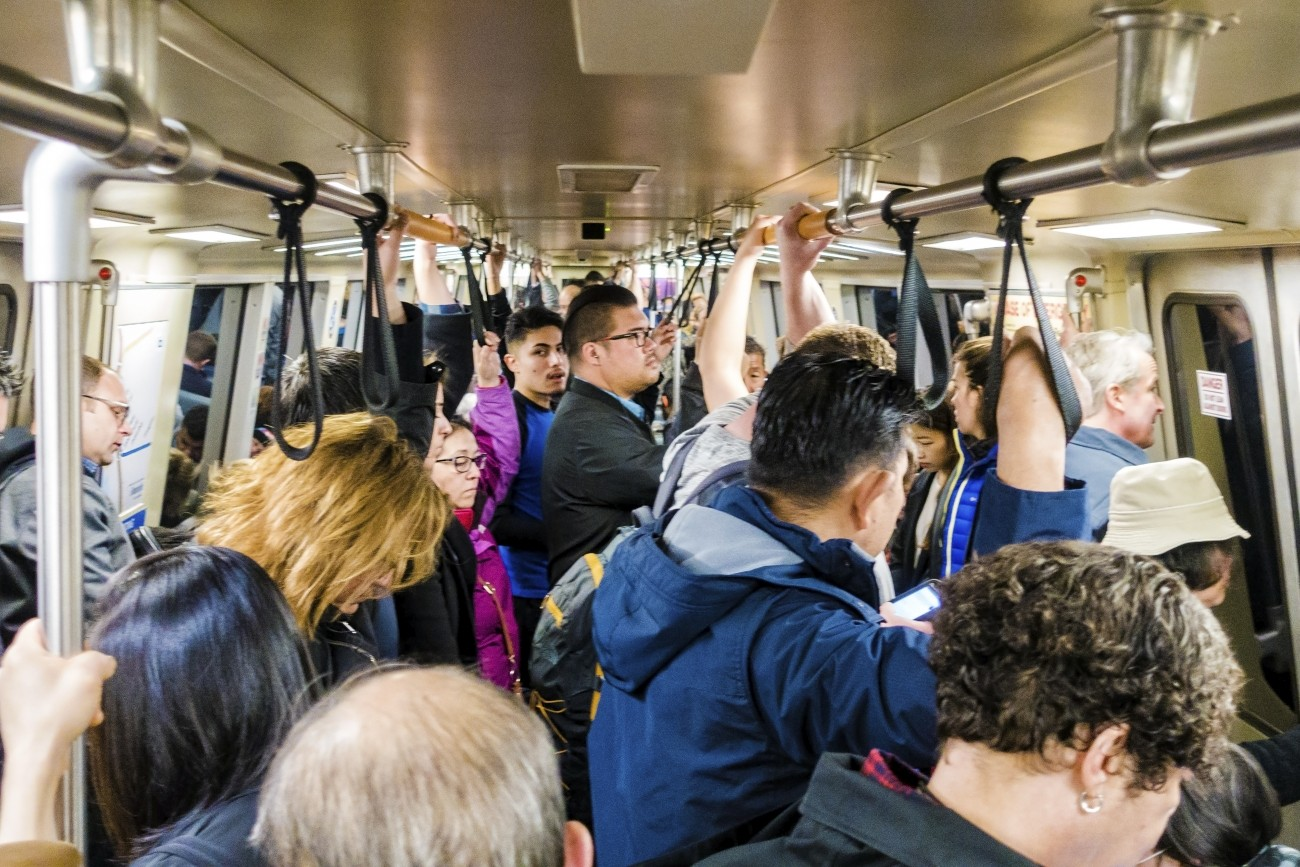 A crowded BART car