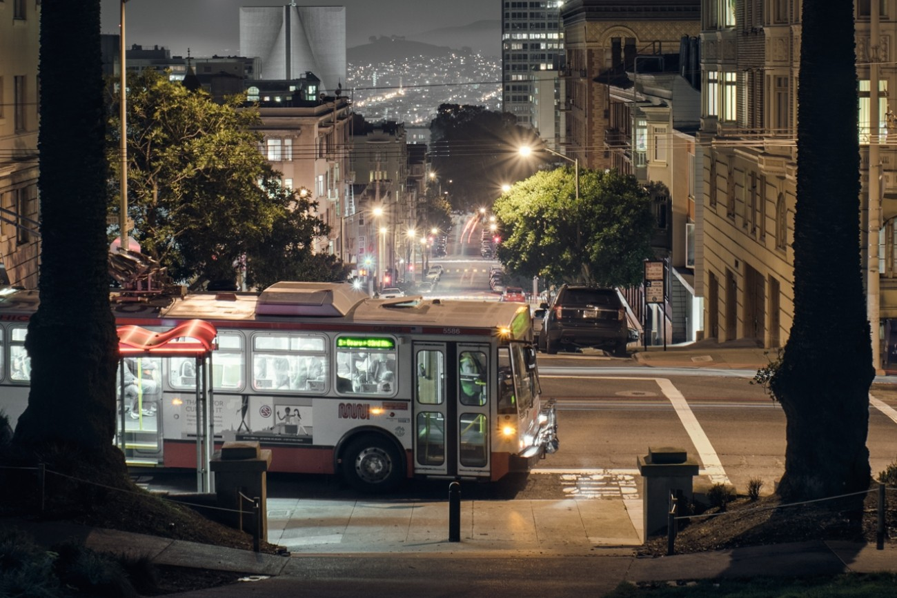 A muni bus operating at night