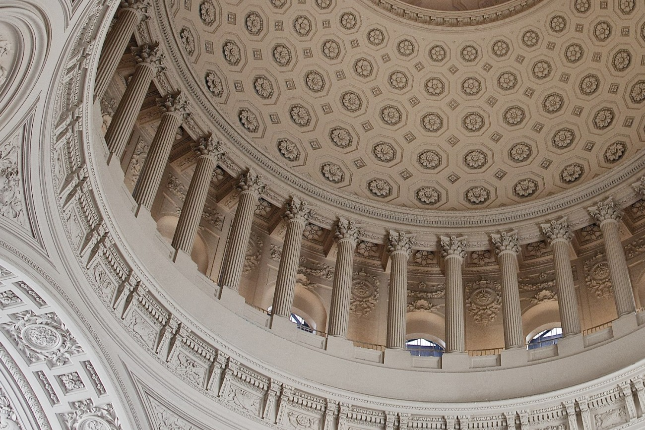 An image from inside City Hall looking up at the dome