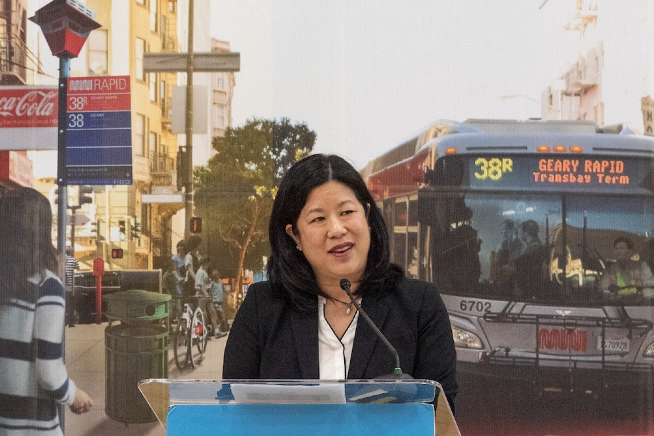 Transportation Authority Director Tilly Chang at a press event