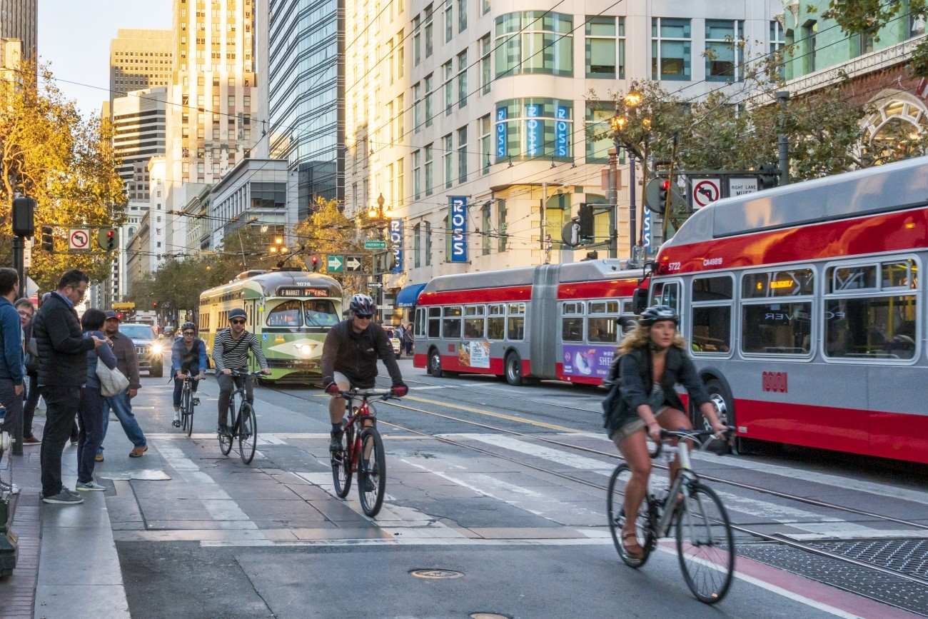 Bicyclists and transit vehicles on Market Street