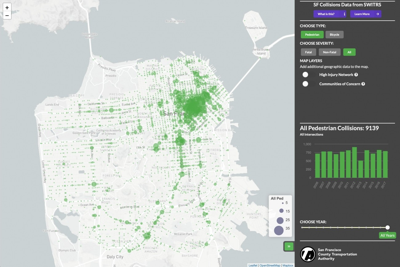 Explore a map of pedestrian and bicycle collisions in San Francisco