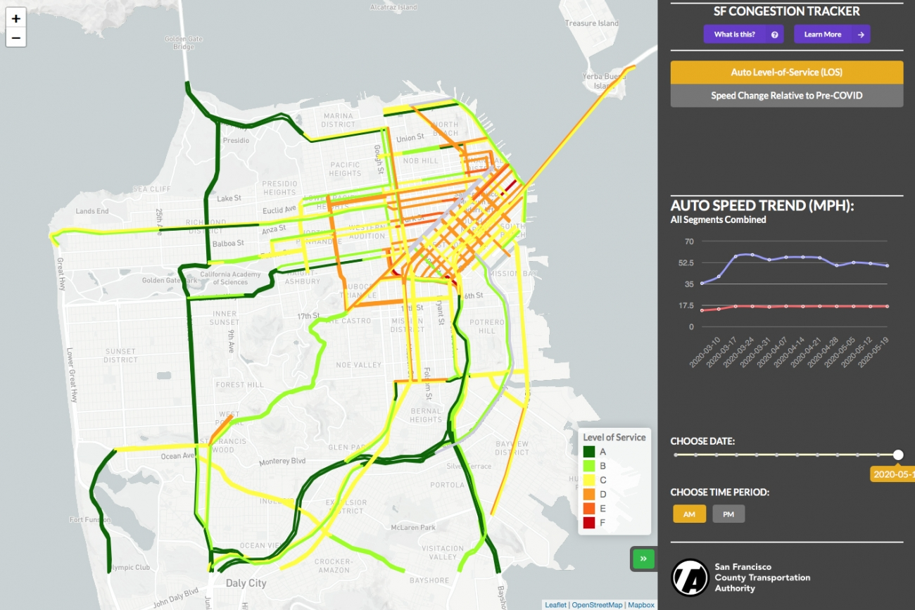 Screenshot of COVID-Era Congestion Tracker