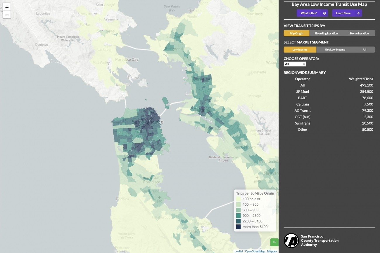 Bay Area Low Income Transit Use Map