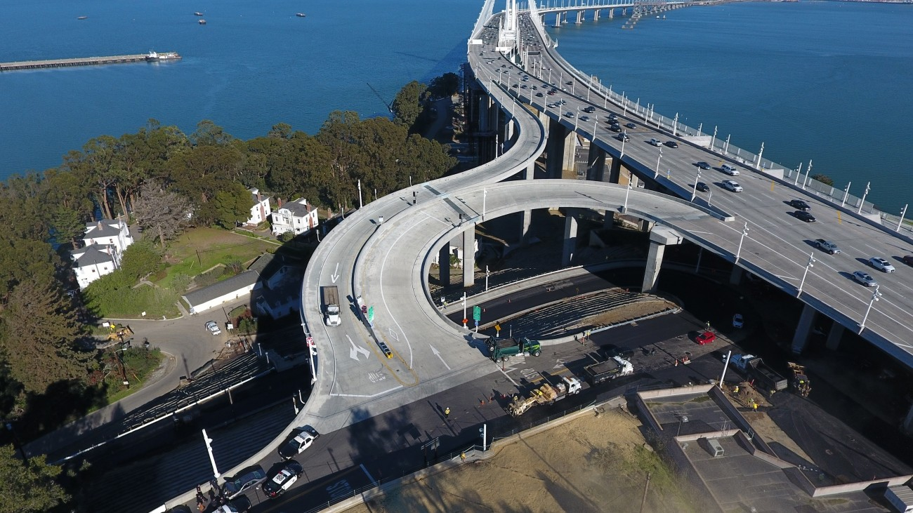 an aerial image of a freeway ramp existing the Bay Bridge