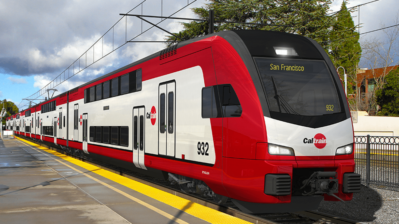 A new Caltrain vehicle headed to San Francisco