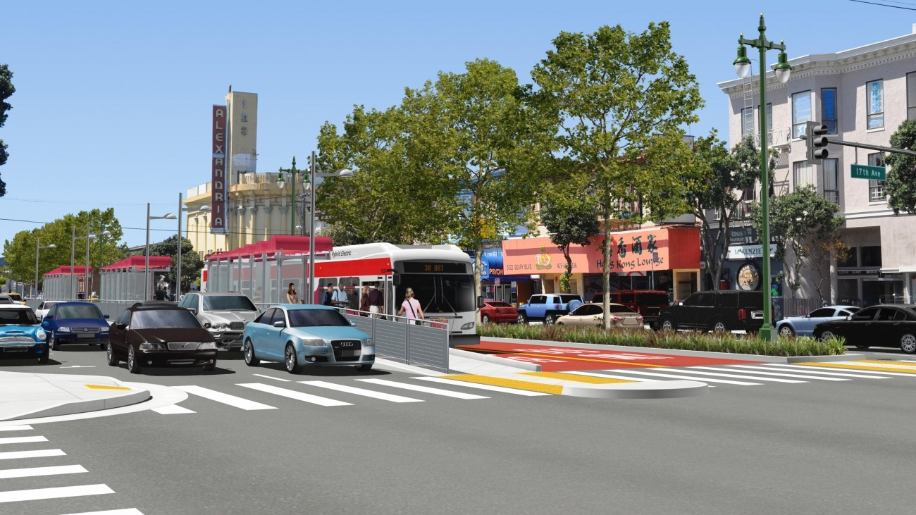 A rendering of Geary Bus Rapid Transit