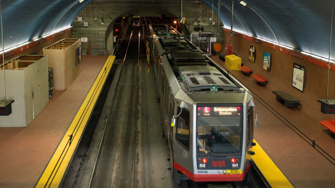 An L Taraval Muni vehicle at the West Portal station