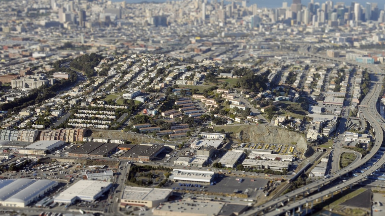 An aerial view of the Potrero Hill neighborhood