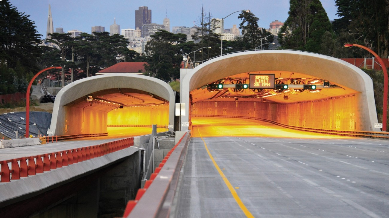 A view of the Presidio Parkway tunnels