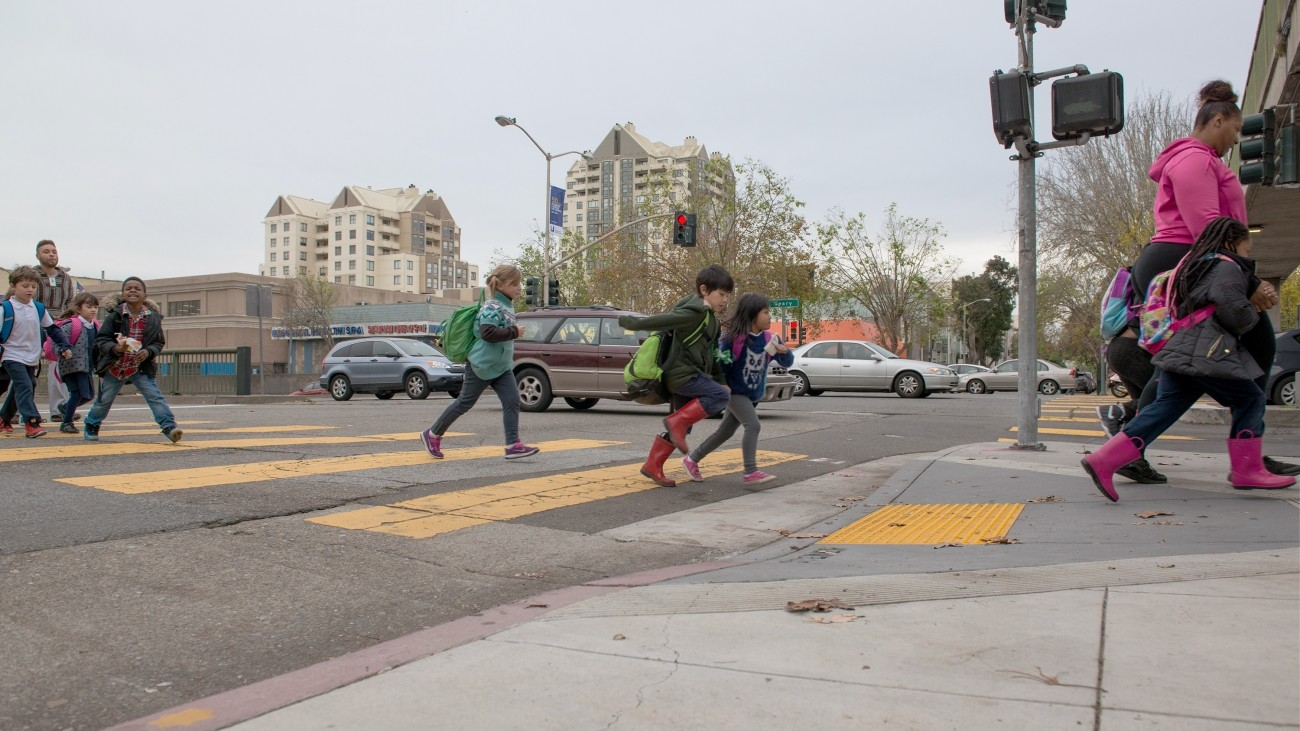 Kids crossing the street at Geary