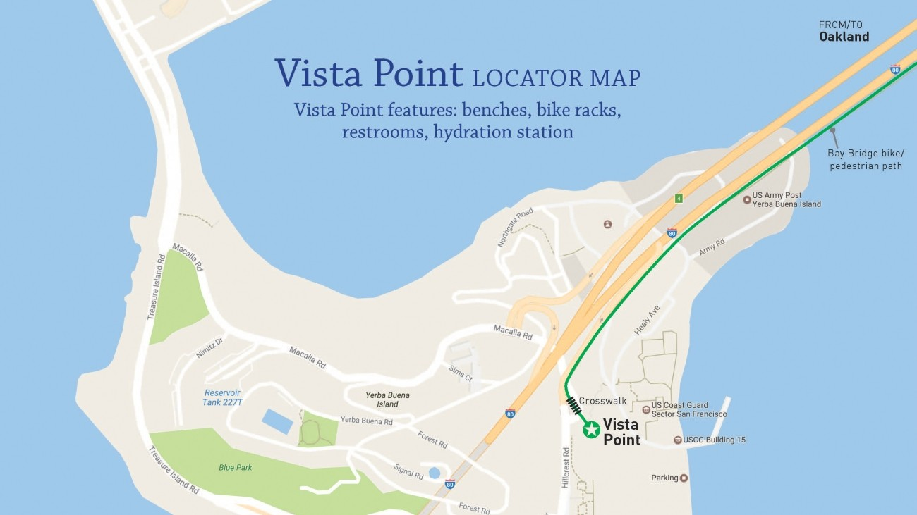 A map of Yerba Buena Island pointing out Vista Point