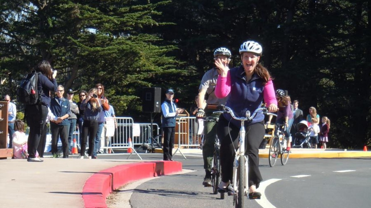 Cyclists enjoy the new bicycle lanes installed in the Presidio through the Arguello Pedestrian Gap Closure project.