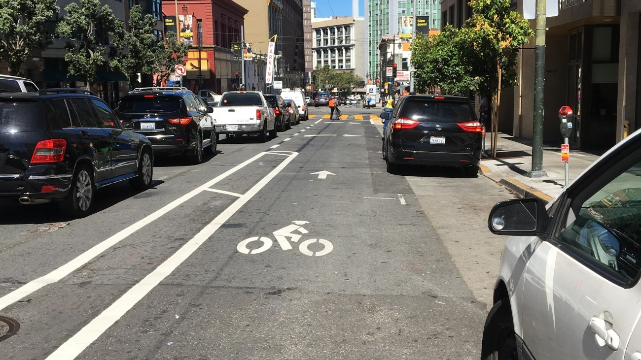 An image of the buffered bike lane