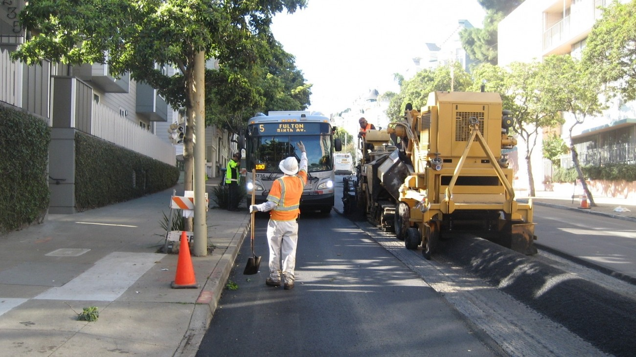 Street repaving happening on McAllister