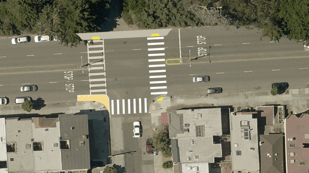 An overhead image of the intersection