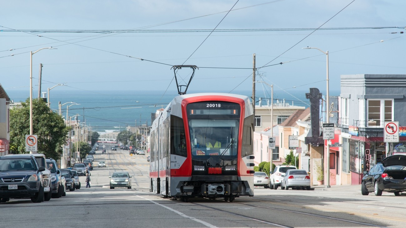 A new light rail vehicle in the Sunset District