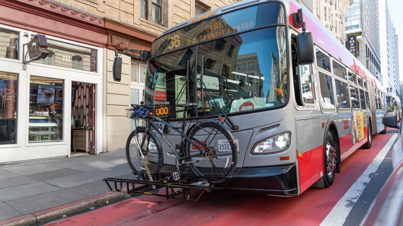 Am image of the 38 Geary bus with a bike on the front