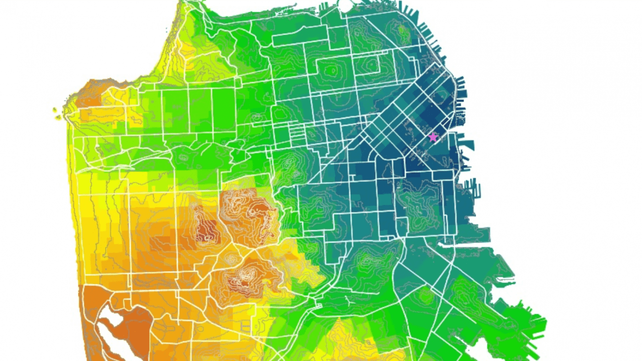 A bike accessibility heat map of San Francisco