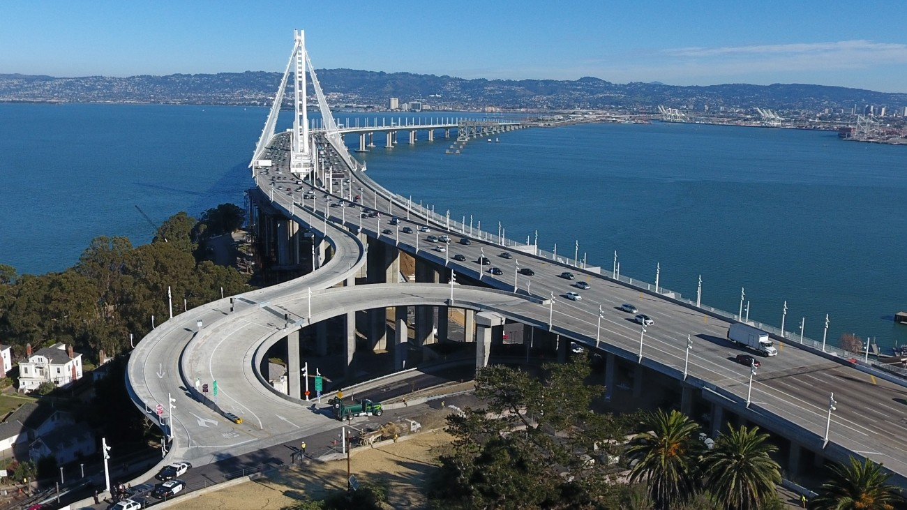 The new on- and off-ramps on the east side of Yerba Buena Island