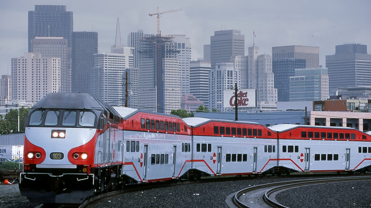 a caltrain train in san francisco