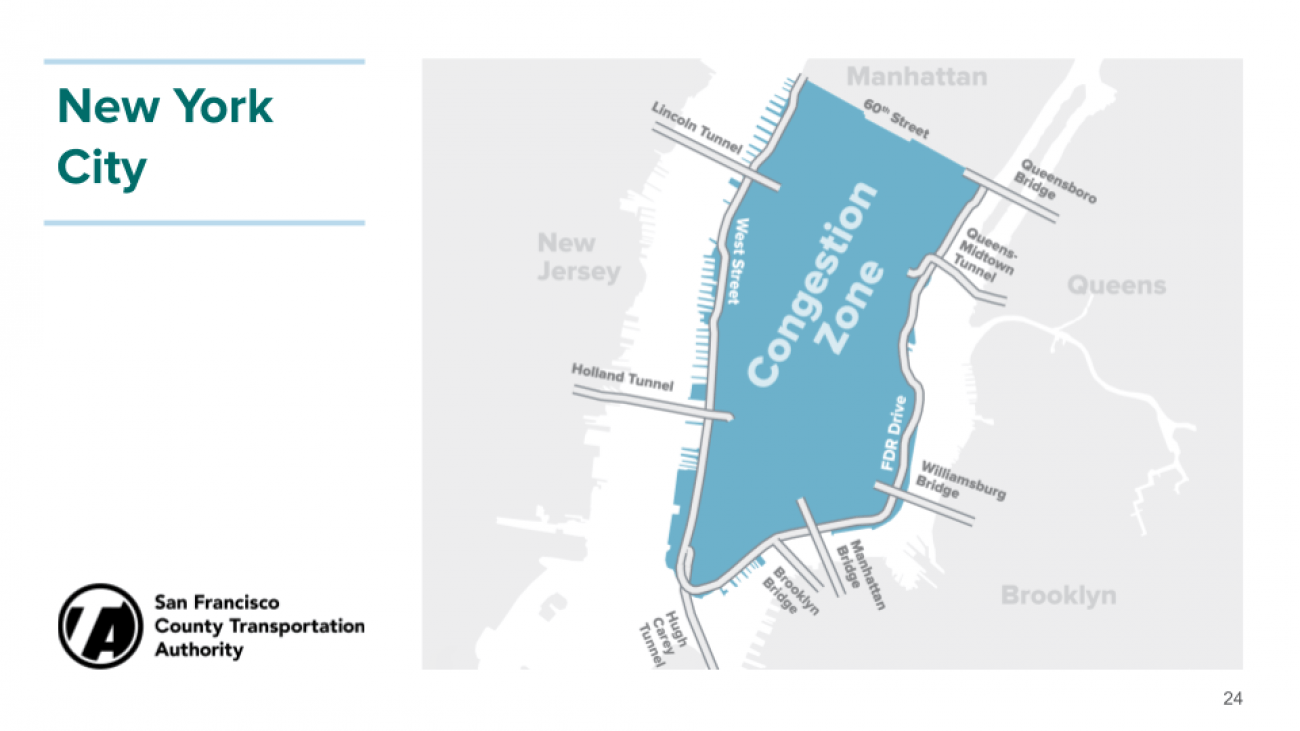 New York City map of congestion pricing