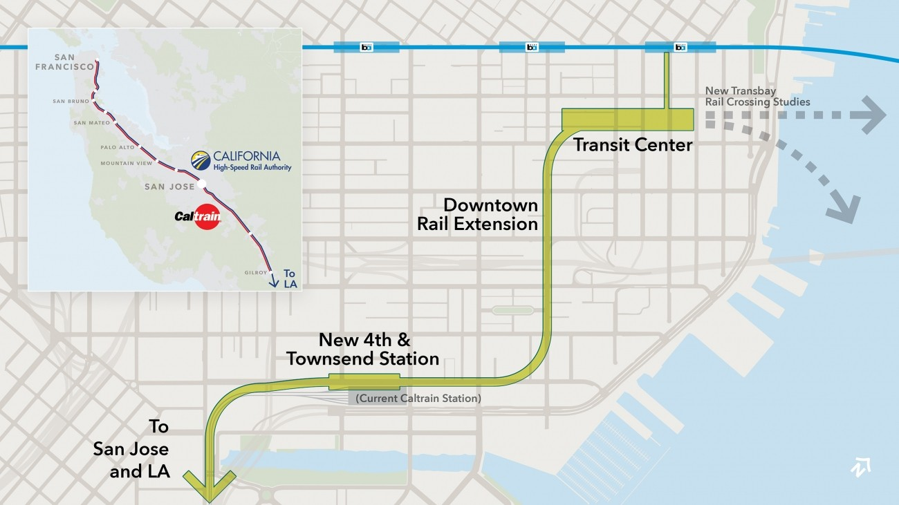 Map showing the potential Downtown Rail Extension running from the current Caltrain station at 4th & King, along 2nd St to the Salesforce Transit Center