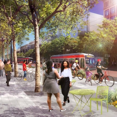 A rendering of the Better Market Street project, with people socializing on a wide sidewalk with people biking and several Muni buses traveling on the street