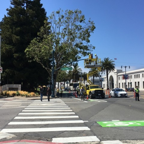 A crosswalk and bike lane with an improved paint job