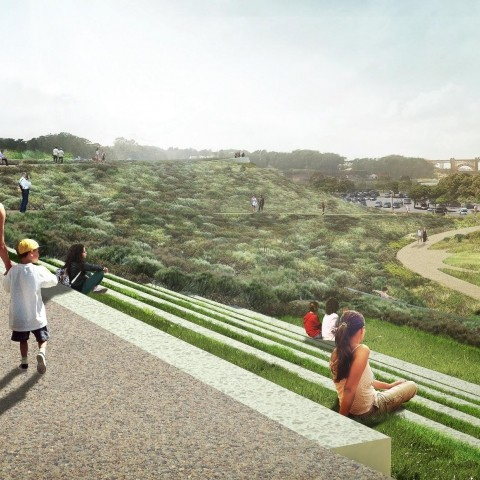 A rendering of the tunnel tops park