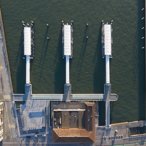 overhead photo of the new ferry docks