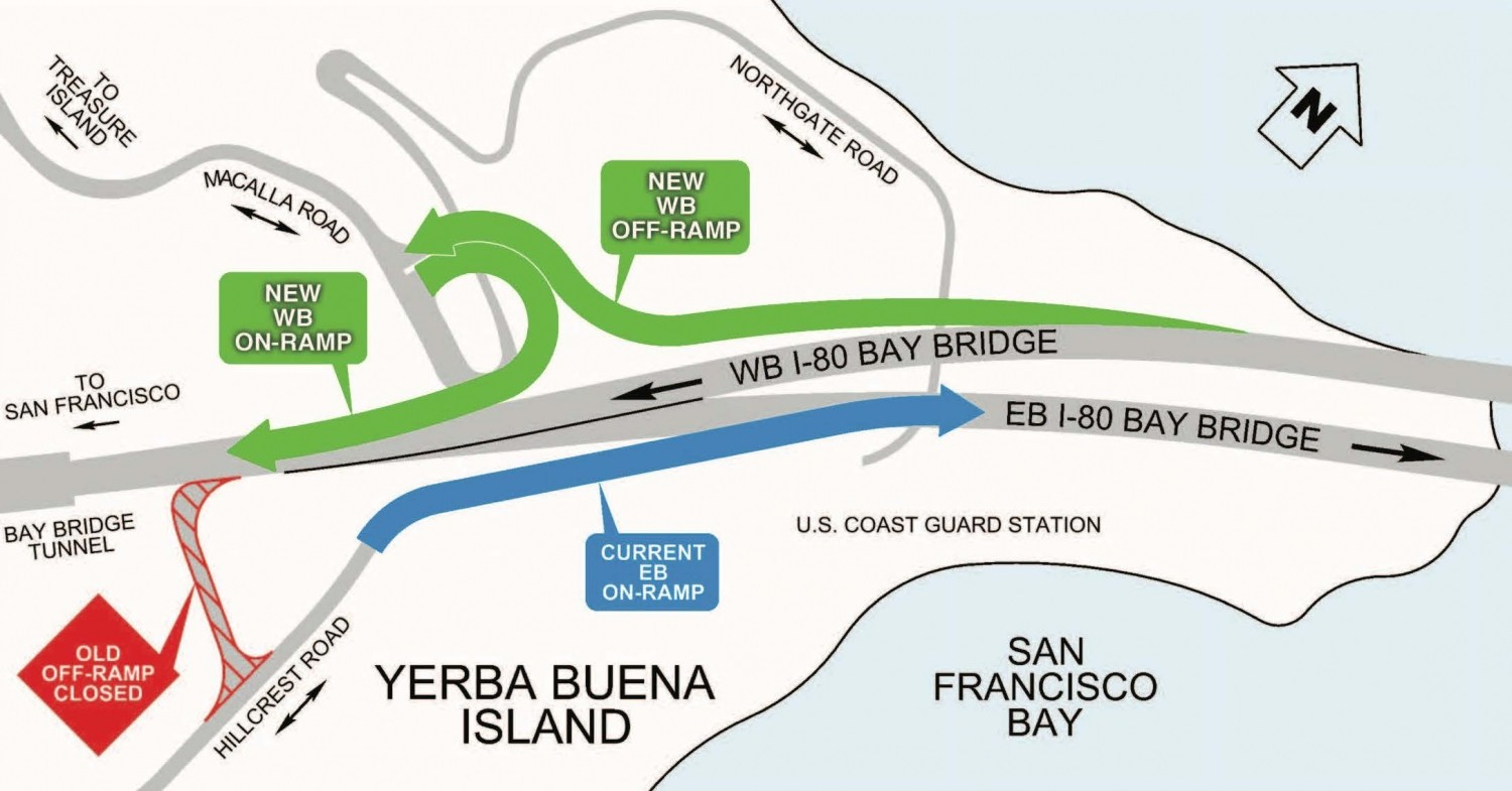 A map of the new westbound on- and off-ramps