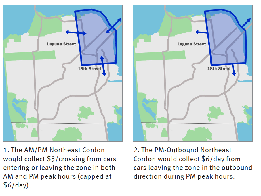 A map of the cordon area from the 2010 congestion pricing study