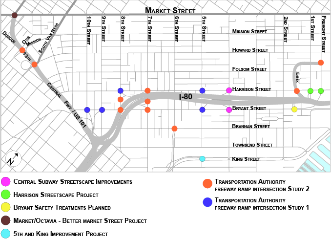 A map labeling all 22 freeway ramp intersections in SoMa