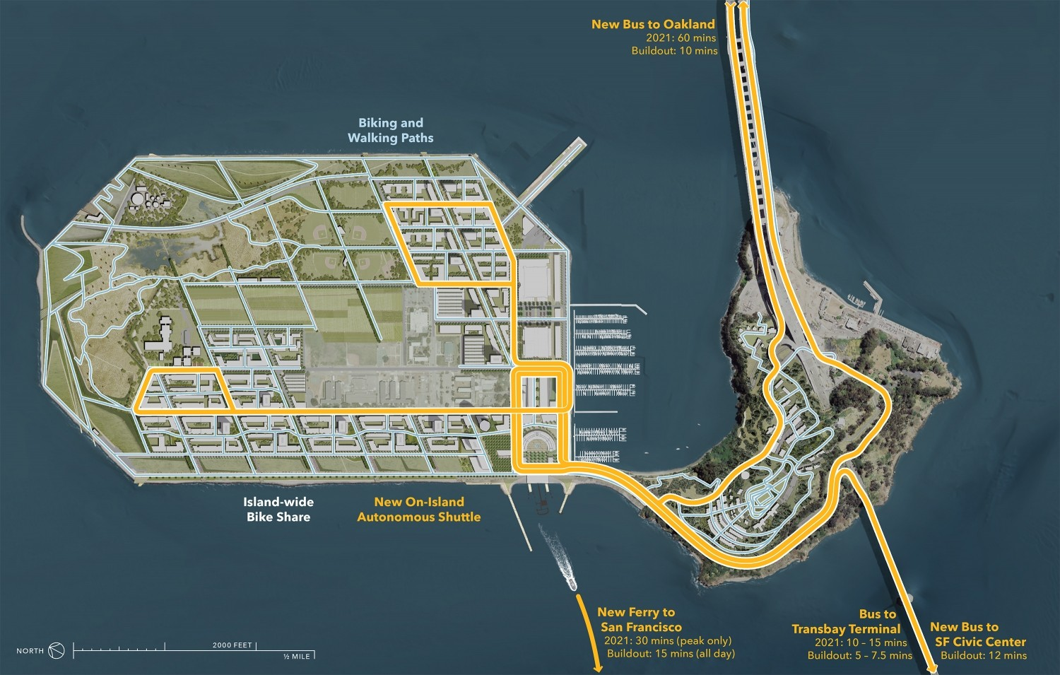 A map of the transit benefits coming to Treasure Island, including a new ferry, increased Muni service, and AC Transit service to Oakland