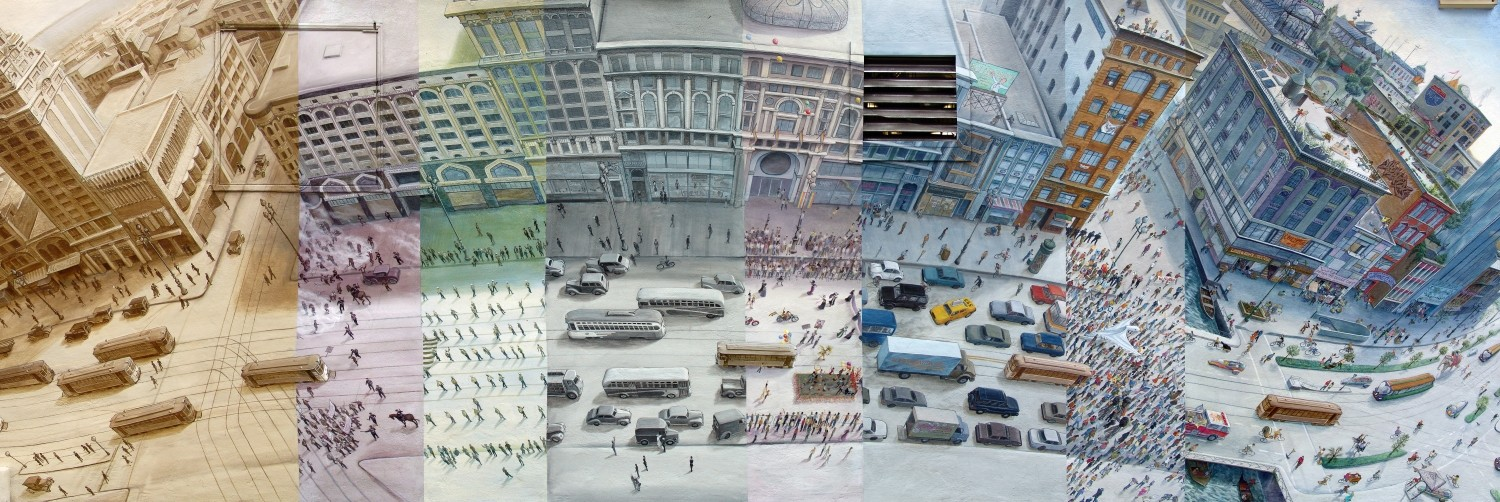 The Market Street Railway mural shows a 180-degree bird's eye view of San Francisco's Market Street through time, divided vertically into sections corresponding to different moments in history from the 1920's onwards and into an imaginary future.