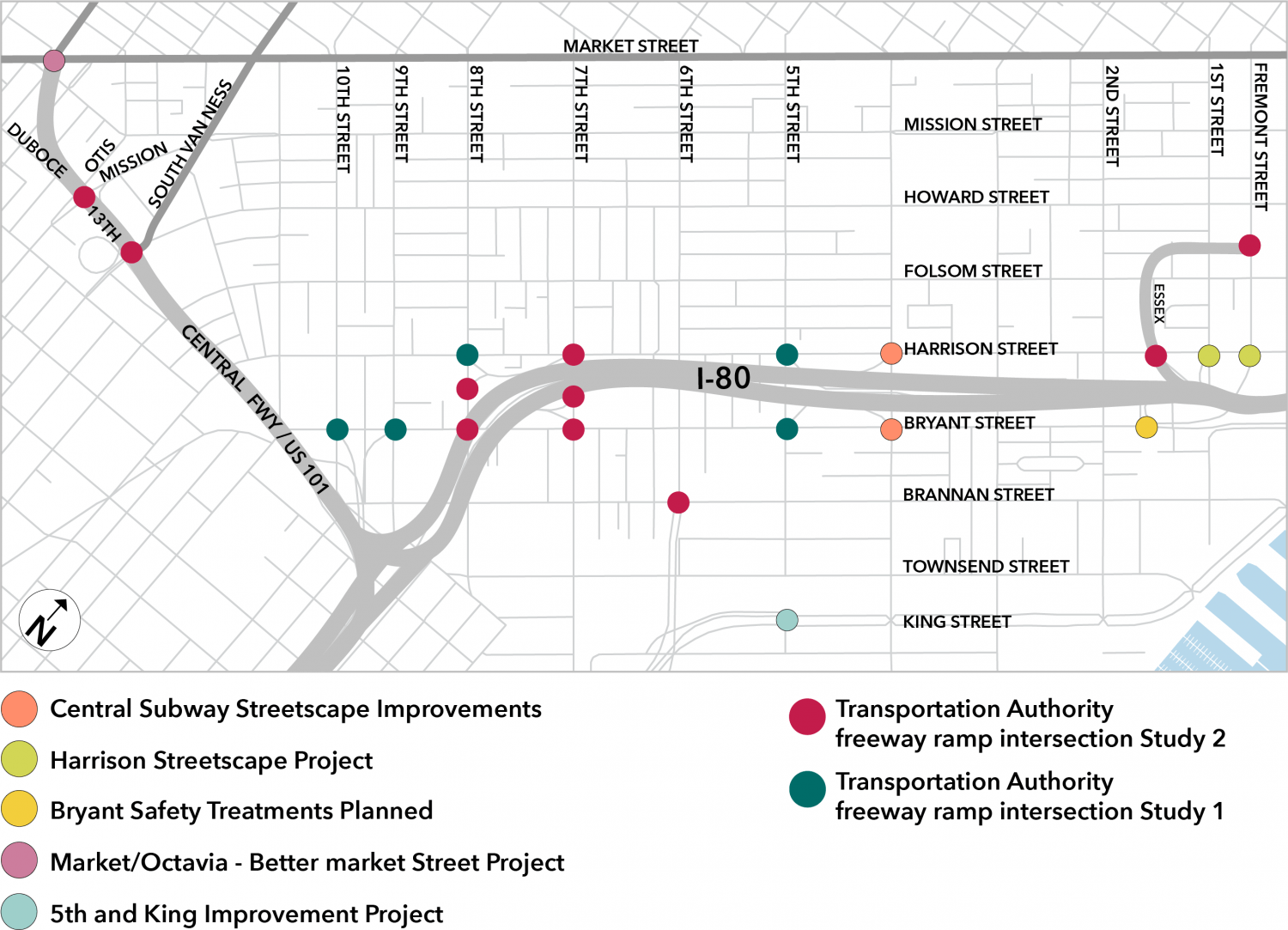 A map of SoMa freeway ramp intersections