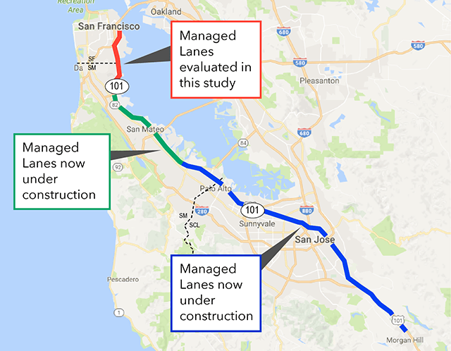 Regional map of the managed lanes
